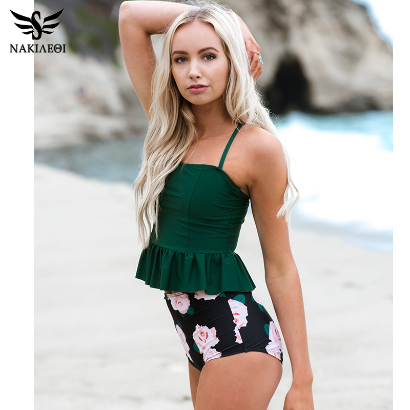 NAKIAEOI 2018 New Bikini Women High Waist Swimsuit Push Up Swimwear Dress Tankini Bikini Set Halter Beach Wear Bathing Suits