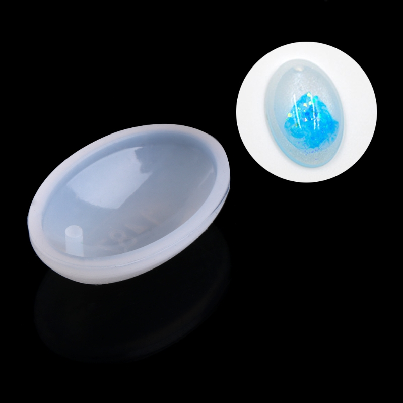 JAVRICK Silicone Oval Shape Pendant Mold DIY Making Jewelry Resin Casting Craft Tool Hole Jewelry Making Tool Equipment