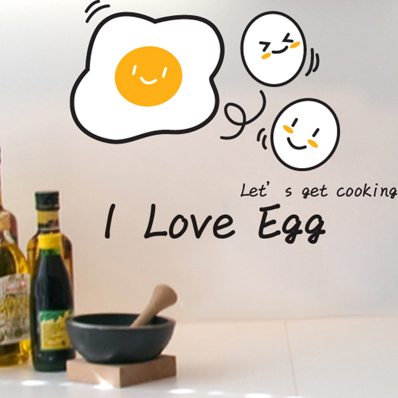 SHIJUEHEZI Removable DIY Kitchen Wall Sticker Food Waterproof Love Egg Wall Decals for Dining Room Kitchen Tile Stickers