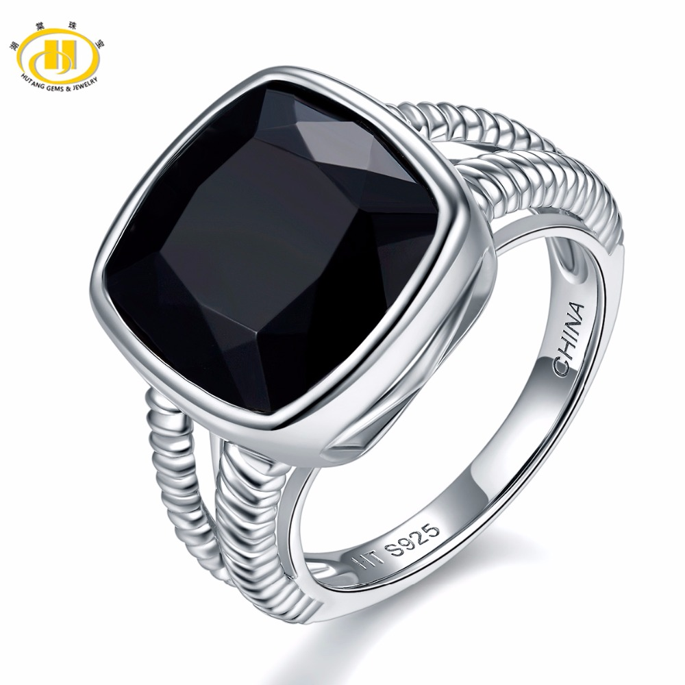 Hutang 6.5ct Natural Black Onyx Rings 925 Sterling Silver Wedding Ring Fine Gemstone Agate Jewelry for Women Men Best Gift New