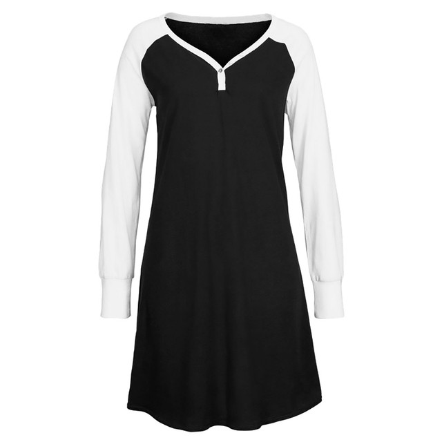 e0750d5fd0c2 Miarhb Women Autumn Long Sleeve Sleep Skirt Above Knee Mini Loose Party  Dress camisones verano mujer nachthemd dames chemise 15
