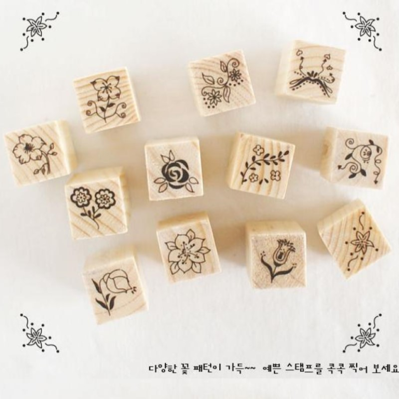 12pcs Korea design flower&smile / Miss&Mr flower&pattern DIY scrapbook wood material Stamps 3 different patterns for chosen