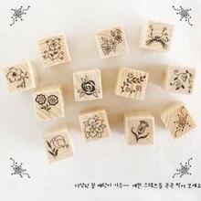 Купить с кэшбэком 12pcs Korea design flower&smile / Miss&Mr / flower&pattern DIY scrapbook wood material Stamps 3 different patterns for chosen