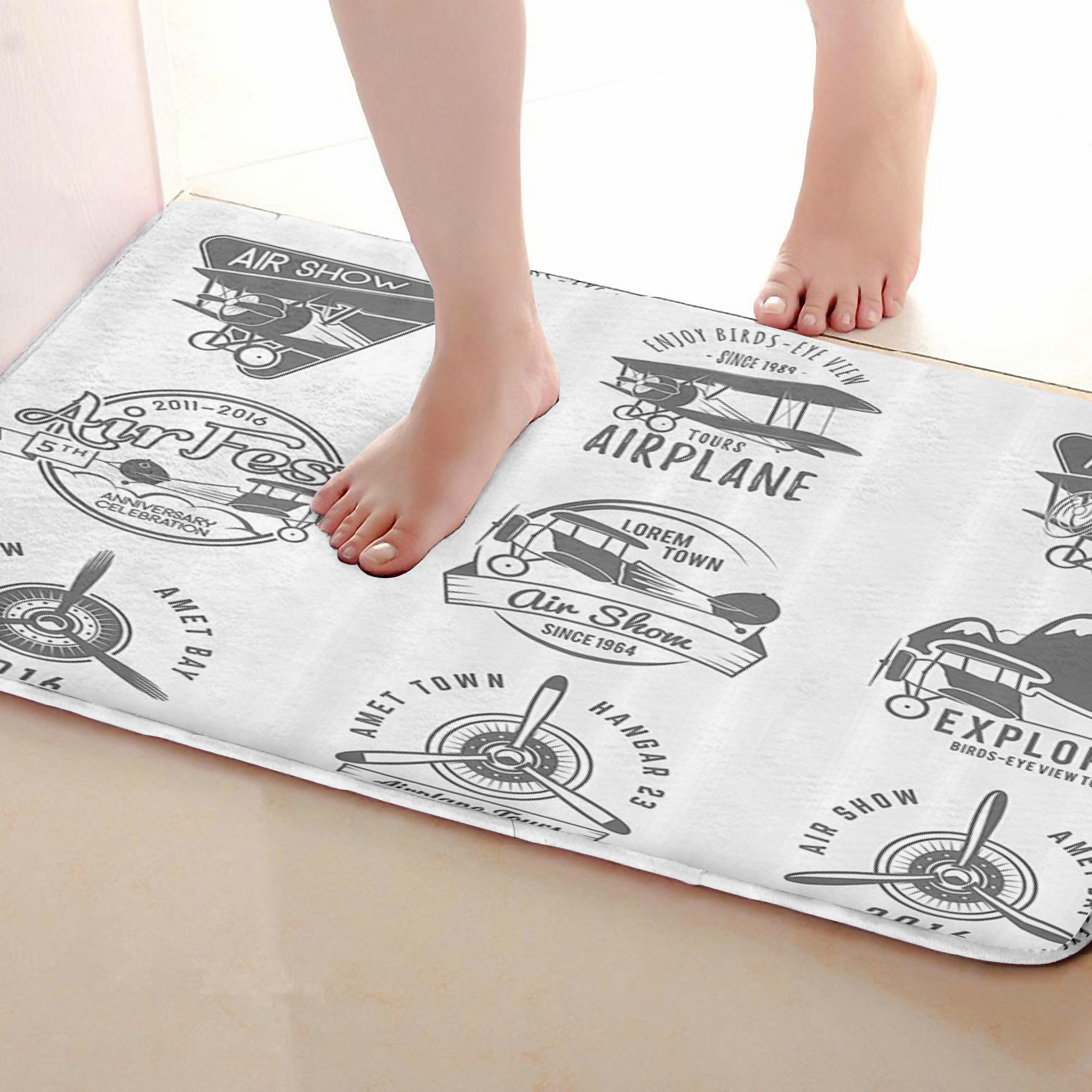 Air Fest Style Bathroom Mat,Funny Anti skid Bath Mat,Shower Curtains Accessories,Matching Your Shower Curtain