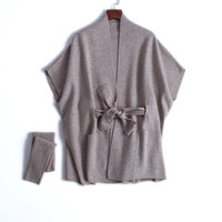 new design goat cashmere knit women fashion mid long cardigan sweater sashes wrap shawl style batwing short sleeve one size