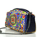 Chinese Vintage Embroidery Bag Ethnic National Shoulder messenger bag Chain Floral Embroidered day Clutch travel handbag