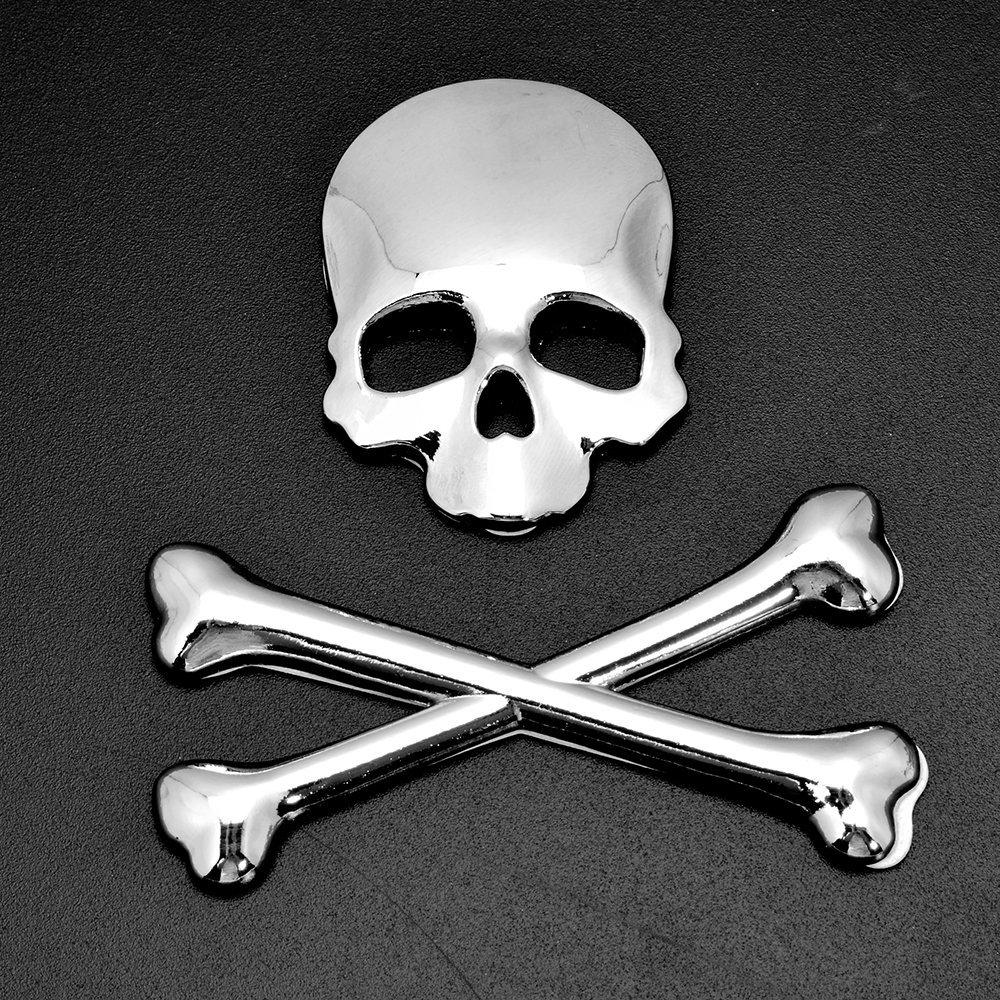 New 3d skull demon bone crossbones metal car sticker decal decoration for harley cruiser bobber chopper sport bike 8z1553 in car stickers from automobiles