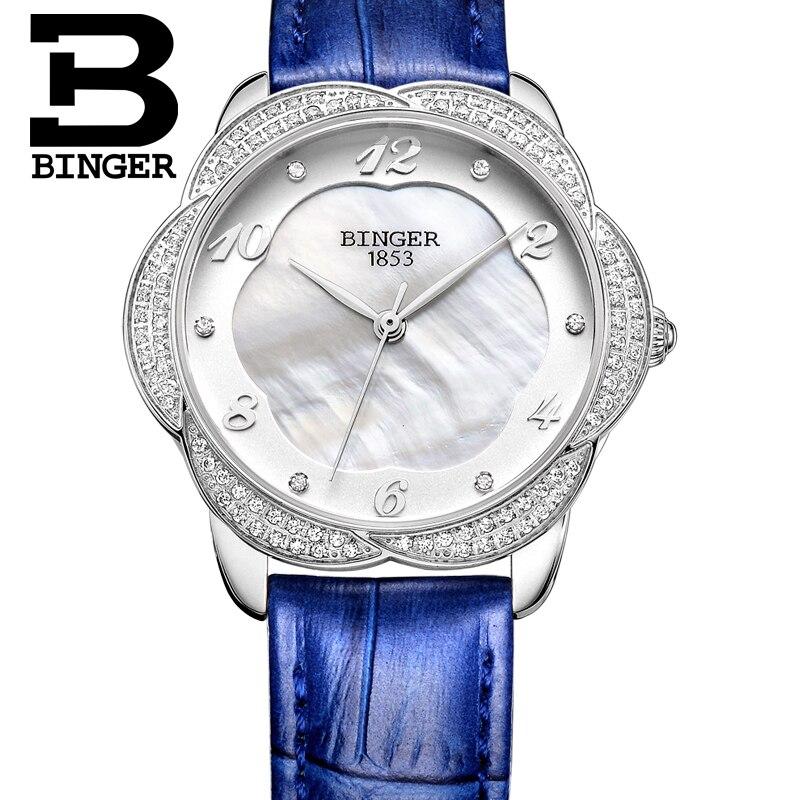 ФОТО Petal Design 2016 New Fashion Watches For Women Dress Clock BINGER Quartz Leatchr Watches 100m Water Resistant B-3028L