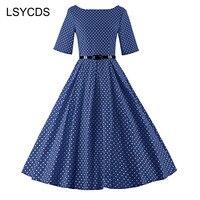 LSYCDS 2018 Womens Summer Vintage Rockabilly Black Blue Red White Audrey Hepburn Polka Dot Print Swing Dresses Plus Size 3XL
