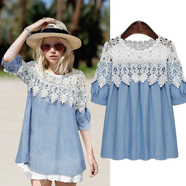 273073c8ac8 Plus Size 2015 High Quality Summer Lace Patchwork Cute Girl O-Neck Casual  Short Mini Jeans Women Dress For Chubby