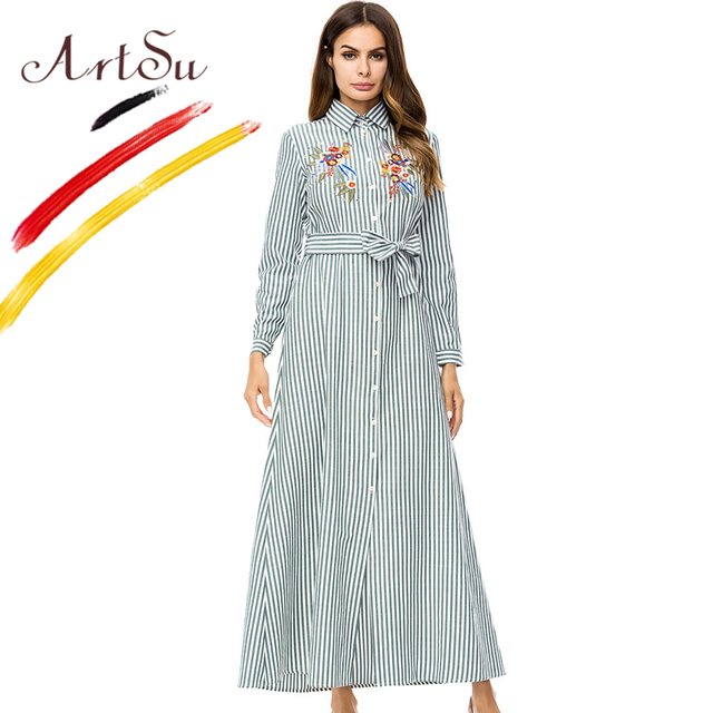 1b1a4576ffb ArtSu Elegant Pink Green Tunic Long Shirt Dress Women Floral Embroidery  Long Sleeve Striped Maxi Dress With Belt Vestidos Autumn