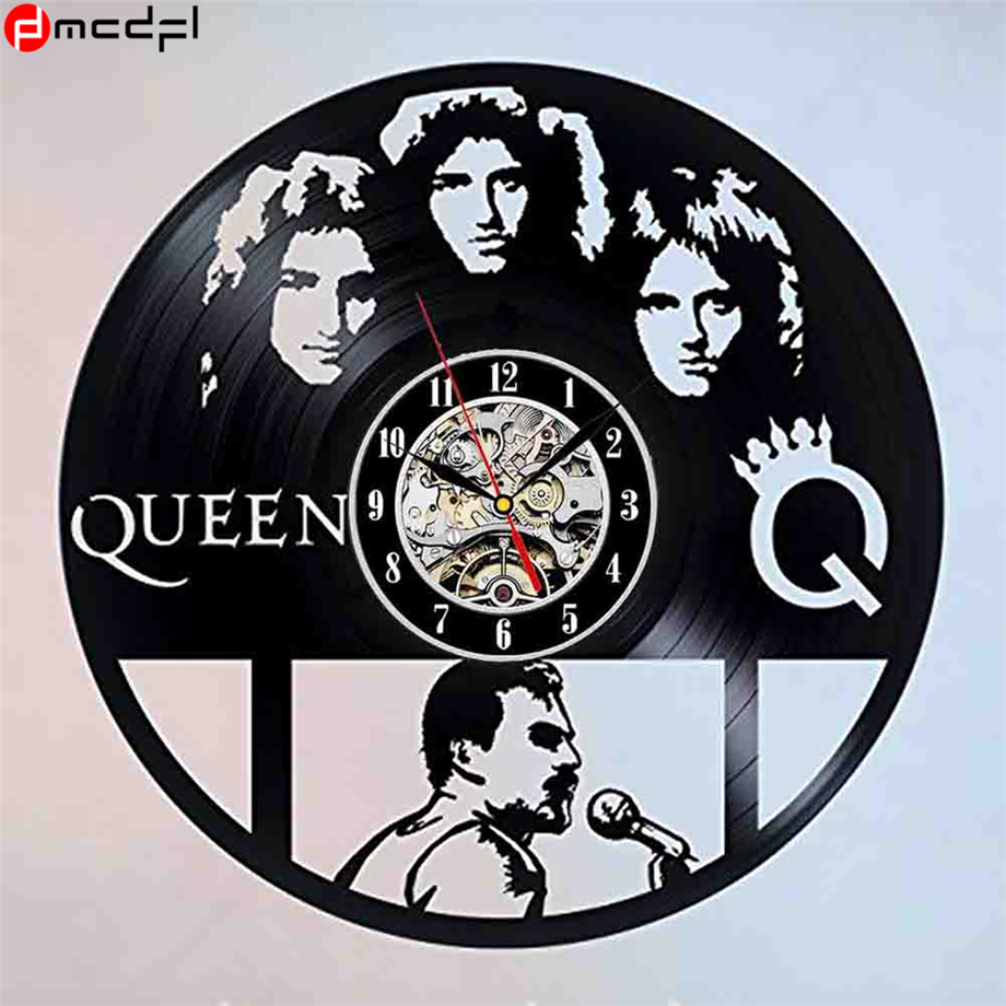 Vintage Vinyl 3D Wall Clock Queen  Wall Sticker Retro Wall Watch Zegar Naklejka Decoration for Home Support Drop Shipping web page