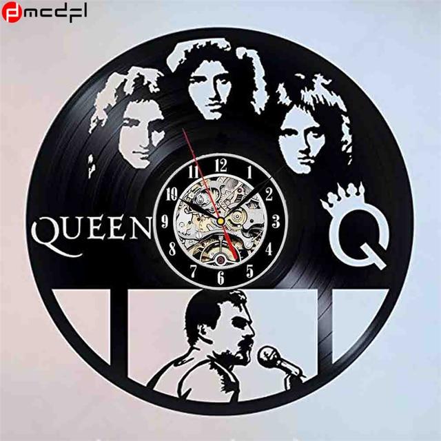 Vintage Vinyl 3D Wall Clock Queen Band Wall Sticker Retro Wall Watch Zegar Naklejka Decoration for Home Support Drop Shipping