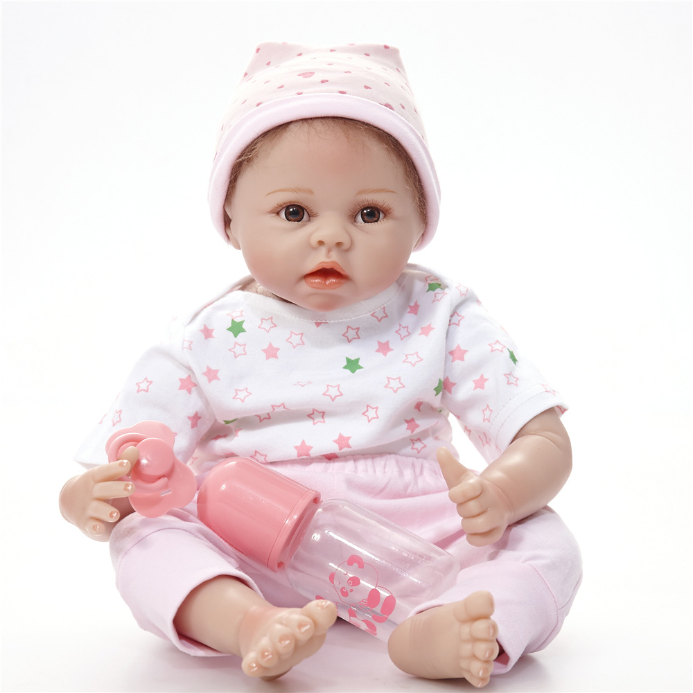 22 inches Exquisite Newborn Girl Doll Silicone Soft Reborn Baby Dolls with Cloth Body Toy for Children Birthday Xmas Gift 22 inches soft silicone reborn baby dolls cloth body real looking newborn alive girl babies boneca toy kids birthday xmas gift