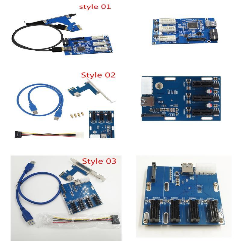 Nouveau PCI-E 1X Kit D'extension 1 à 3 Ports et à 4 PCI Express sorcière Multiplicateur Hub D'extension Riser Carte D'extension XXM