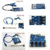 PCI E 1X 1 To 3 Port 1X Switch Multiplier Expander HUB Riser Expansion Card CSUG