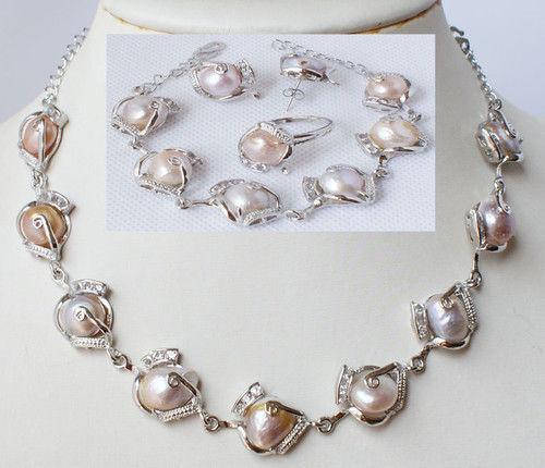 3 choix rose noir et blanc en gros De Mode bijoux perle d'eau douce collier bracelet boucle d'oreille anneau ensemble (A0423)