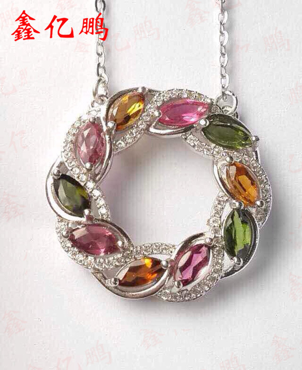 925 silver tower with natural tourmaline pendant female hang 3 x6 mm fashion color gem925 silver tower with natural tourmaline pendant female hang 3 x6 mm fashion color gem