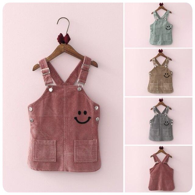 Korean Girl Children's Garment 2016 Autumn New Product Girl Baby Lovely Cartoon Smiling Straps Skirt A Skirt Camisole Skirt