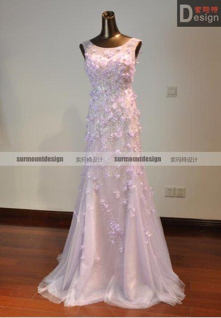 Custom made elie saab flowered evening dresses fashion 2012