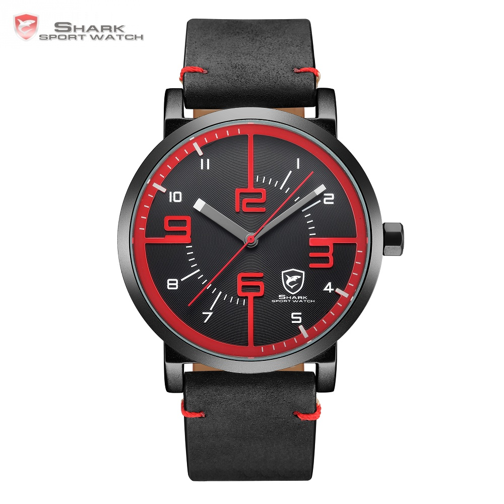 Bahamas Saw SHARK Sport Watch Black Red Men Quartz Simple Long Second Hand Crazy Horse Leather Band Male Designer Watches /SH567