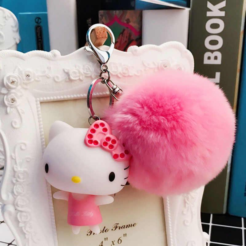 133e22c9b ... Cartoon Rabbit Fur Ball Cute Minions Hello Kitty Keychain Fur Pom Pom  Key Rings Women Car ...