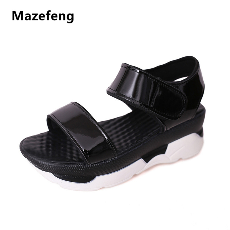 Mazefeng summer Shoes Female Platform Sandals Women Shoes Leather Casual Shoes Open Toe Gladiator Women Casual Sandals  Flats bohemia women casual platform sandals fashion rubber wedge gladiator sexy female sandals ladies summer women shoes dbt570