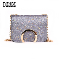 DIZHIGE Brand Fashion PU Leather Women Bags High Quility Solid Chain Crossbody Bags For Women Sequins
