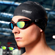 UTOBEST Optical Swimming Goggles Anti-fog Mens Glasses UV Protection Adjustable Myopia Swim cap