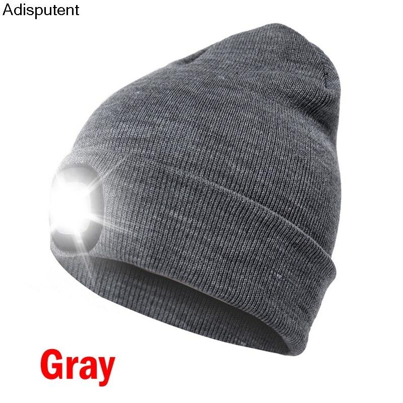 MoneRffi Winter Unisex Warmer Knit Cap Hat Button Battery LED Beanie Cap Hot LED Spot light hat LED light headlights