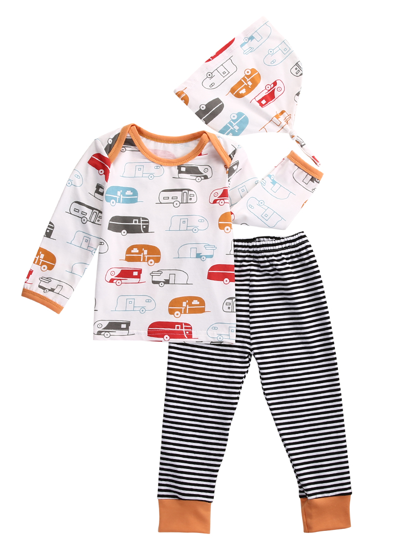 671bae5a9c0f6 US $7.18 |3pcs!!Newborn Infant Baby Kids Boy Girl Cotton Long Sleeve Car  Printed T shirt Top+Striped Pant Legging+Hat 3pcs Outfit Set-in Clothing  Sets ...