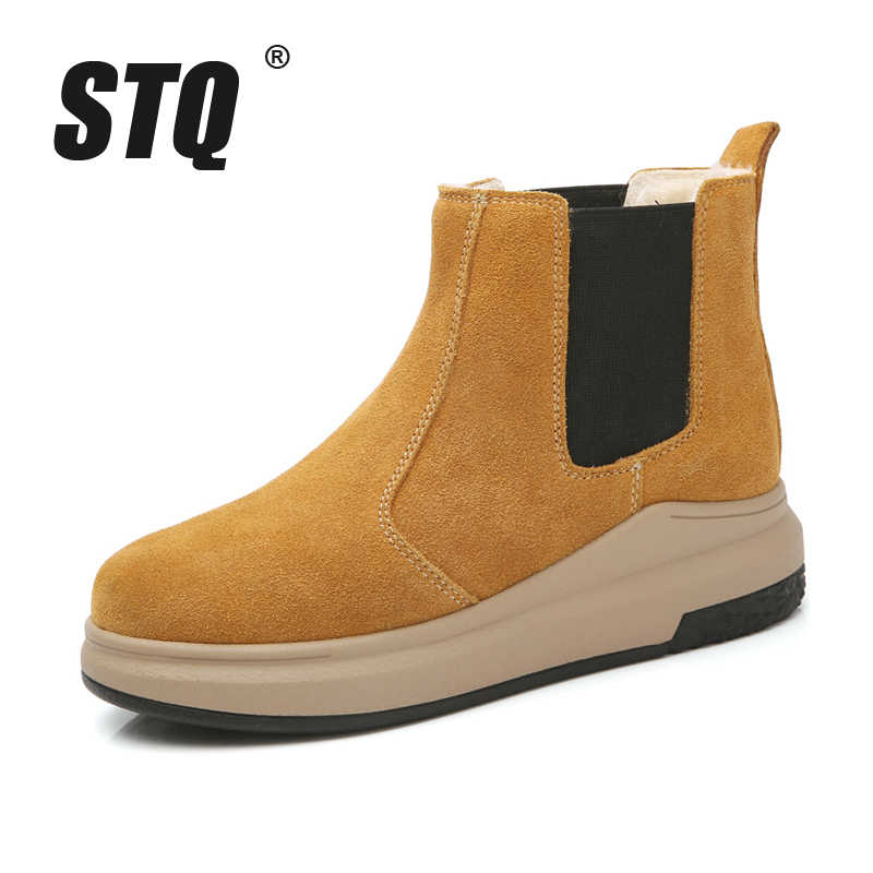 8b2e5b1f9e1 STQ 2019 Winter women ankle boots women leather suede plush warm boots  motocycle Boots flat heel waterproof snow boots 6068