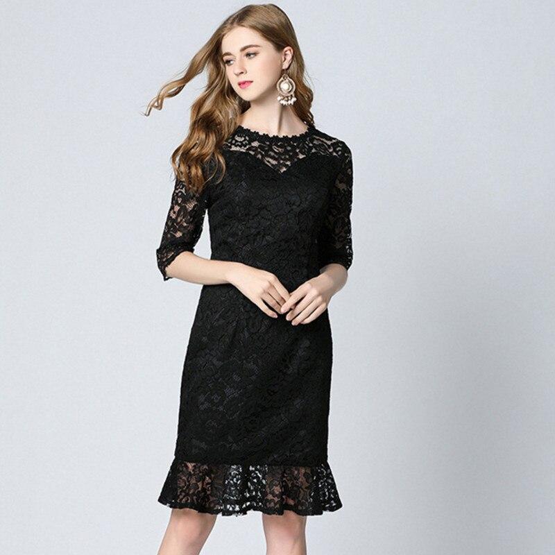 2017 Summer Dress Women Vestidos Sexy & Club Black Lace Mermaid - Ropa de mujer - foto 2