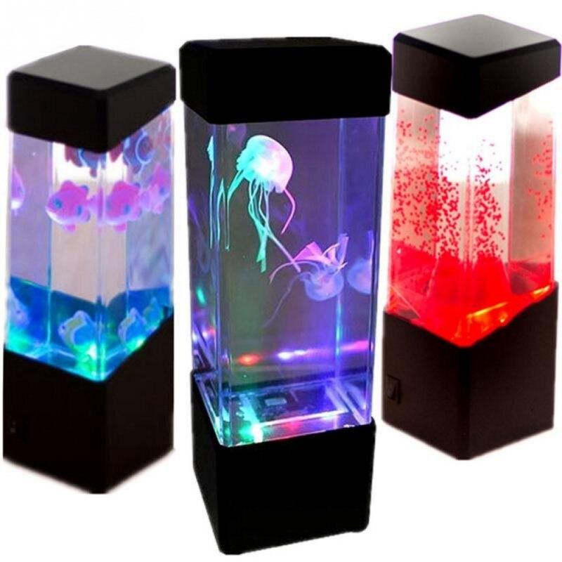 Тумбочка движения лампы Медузы лампы аквариум светодиодный бак настольная лампа ночник тумбочка ночник для аквариума ...