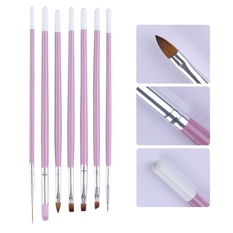 7Pcs/Set Nail Brush Pen Painting Flower Drawing Liner Pink Acrylic Handle UV Gel Cuticle Remover Nail Art Design Tools