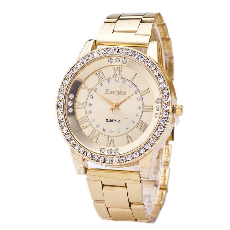 Clock Watches Dress Rose-Gold Women/men Relogio Quartz Rhinestone Feminino Hours Analog