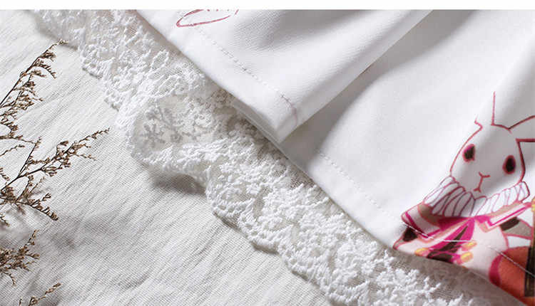 Lolita vestido doce coelho bonito japonês kawaii meninas princesa empregada do vintage padrões impressos gótico laço branco vermelho verão saia