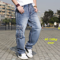 Military Style Men's Casual Baggy Blue Jeans With Multi Pocket Loose Wide Leg Cool Dance Cargo Jeans Men Big Size Pants 42 44 46