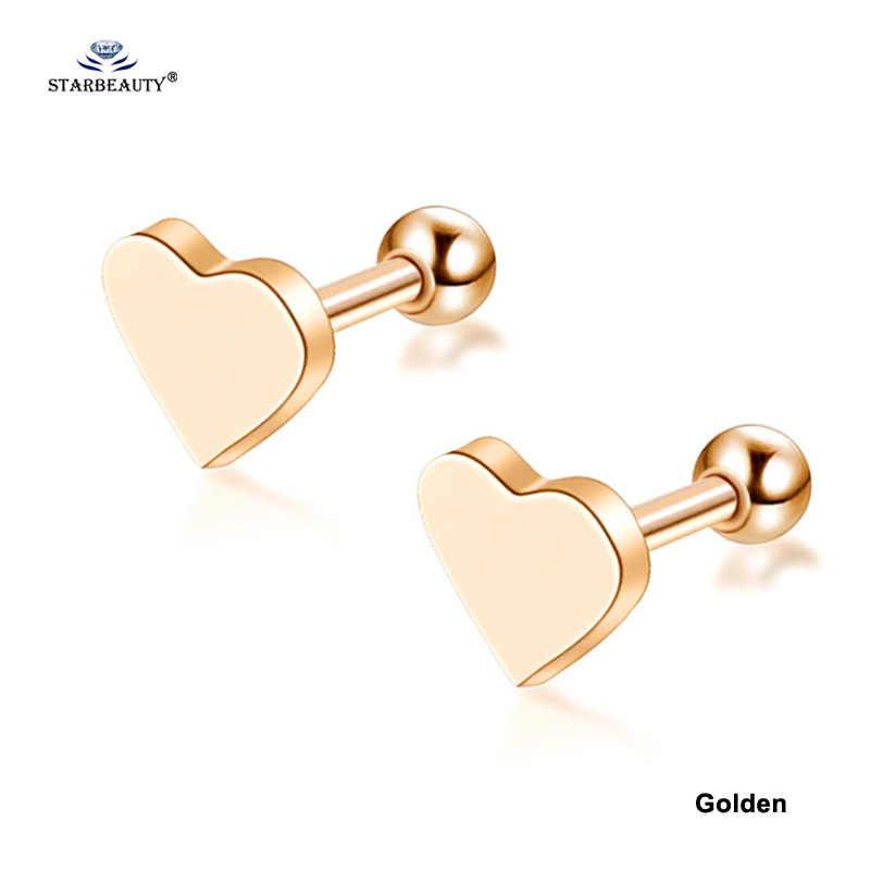 2pcs/lot Lovely Heart Stud Earring Tragus Piercing Oreja Helix Earrings Rose Gold Color Ear Piercing Cartilage Piercing Titanium