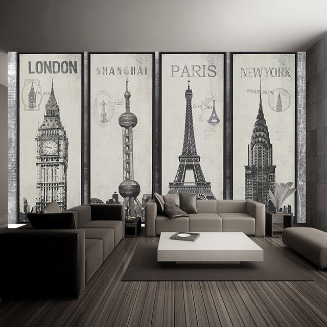 Fashion Eiffel Tower Sydney Greek City Building Set DIY Wallpaper Mural Living  Room Background Decor Mural Part 83