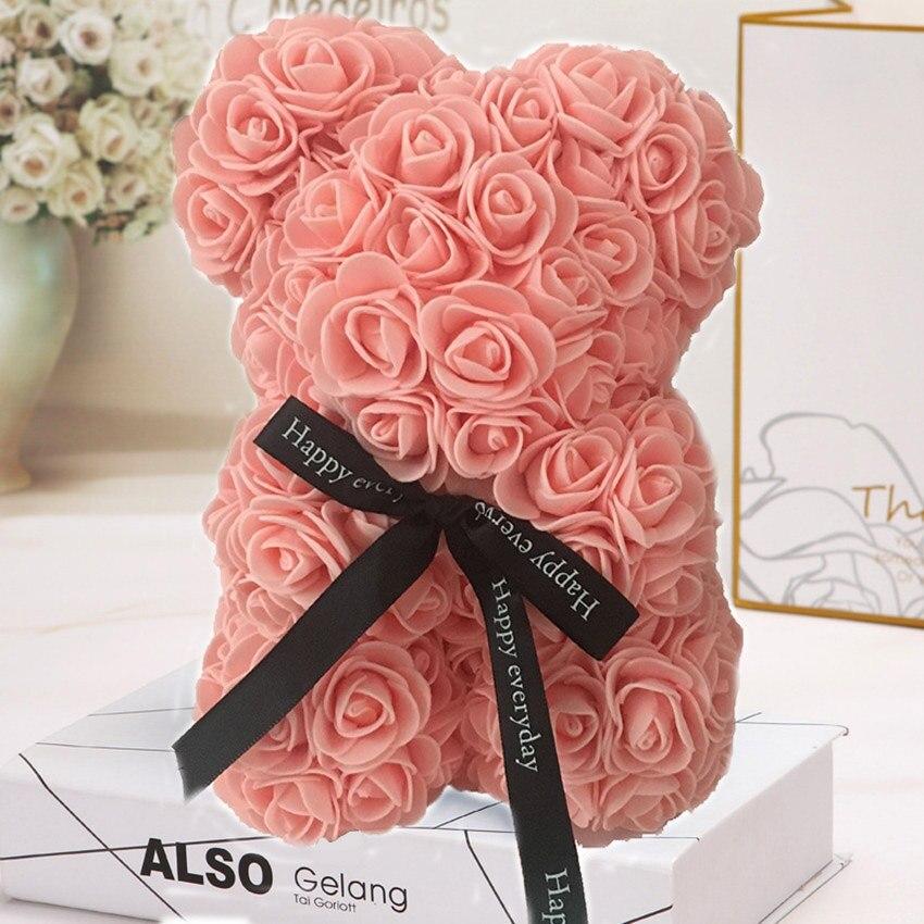 Горячая Распродажа, подарок на день Святого Валентина, 25 см, красная роза, плюшевый мишка, цветок розы, искусственное украшение, рождественские подарки для женщин, подарок на день Святого Валентина - Цвет: Viande rose25cmNoBox