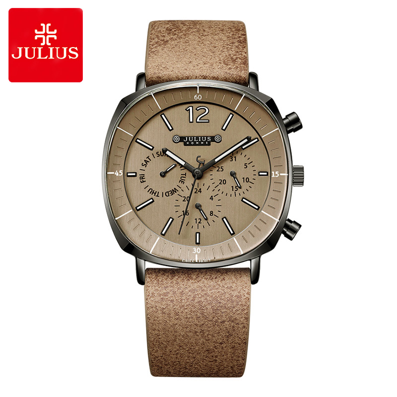 New Real Functions ISA Mov't Men's Watch Fashion Hours Dress Bracelet Leather Business School Boy Birthday Gift Julius Box real multi functions julius women s watch isa quartz hours fine fashion dress bracelet sport leather birthday girl s gift box