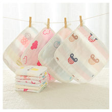 6layers 25x25cm baby towel 100% cotton muslin towel handkerchiefs wipe towel cotton infant face towel wipe cloth edge covered(China)