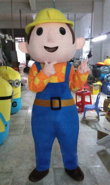 Bob The Builder Mascot Costume Adult Mascot Costume for Halloween Party Dress Amusement Park Outfit