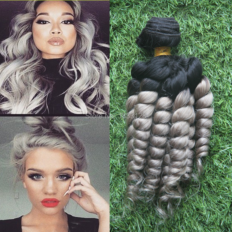 New Fashions Silver Grey Ombre Human Weave Hair Extensions 1pcslot