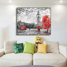 Laeacco London Street Scene Wall Artwork Posters and Prints Living Room Paintings in Canvas Bedroom Nordic Home Decor