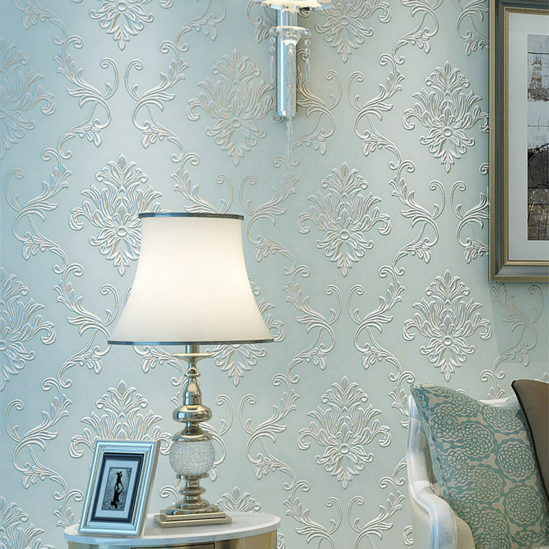 European Style Luxury 3D Damascus TV Background Wallpaper Non-woven Wallpapers For Living room Bedroom Floral Wall Paper Rolls