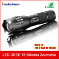 A100 LED Flashlight Black CREE 3800LM Waterproof T6 LED Flashlight 5 Modes Zoomable LED Torch Penlight Flashlight