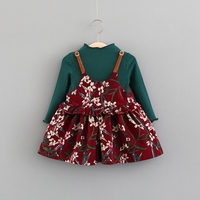 Autumn Baby Girls Floral Print Spaghetti Strap Overalls Dress T Shirt Kids Princess Party Two Pieces