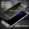 Marca luphie s7 vidro temperado borda hard case de metal de alumínio de luxo tampa traseira para samsung galaxy s7/s7 edge 2016 anti-riscos